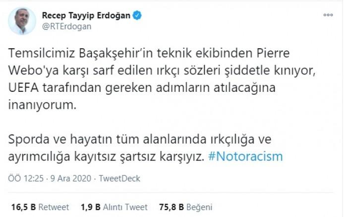 Erdoğan'dan ırkçılığa tepki